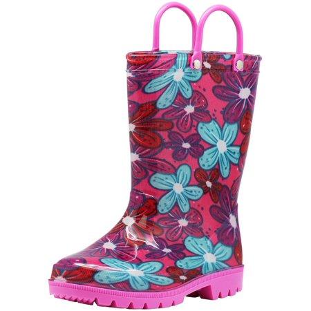 Norty Little Big Kids Girls Waterproof PVC Light Up Rain Boots, 41279 Pink Flowers / 12MUSLittleKid