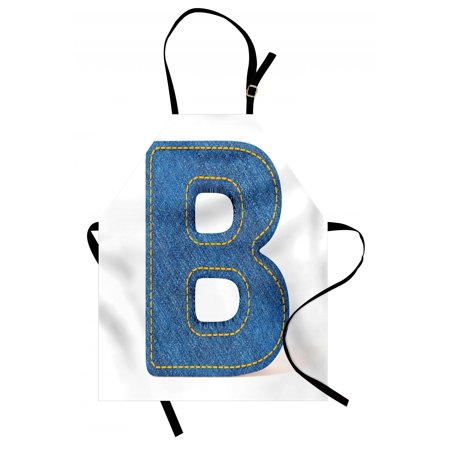 Letter B Apron Jeans Clothing Retro Fashion Style Alphabet Elements Youth Typography Design, Unisex Kitchen Bib Apron with Adjustable Neck for Cooking Baking Gardening, Blue Yellow, by Ambesonne