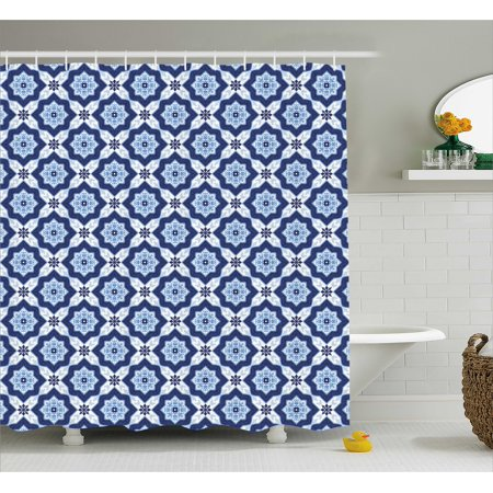 - Indigo Shower Curtain, Indian Oriental Moroccan Ancient Tiles Like Image Floral Details, Fabric Bathroom Set with Hooks, 69W X 70L Inches, Dark Blue Turquoise and White, by Ambesonne
