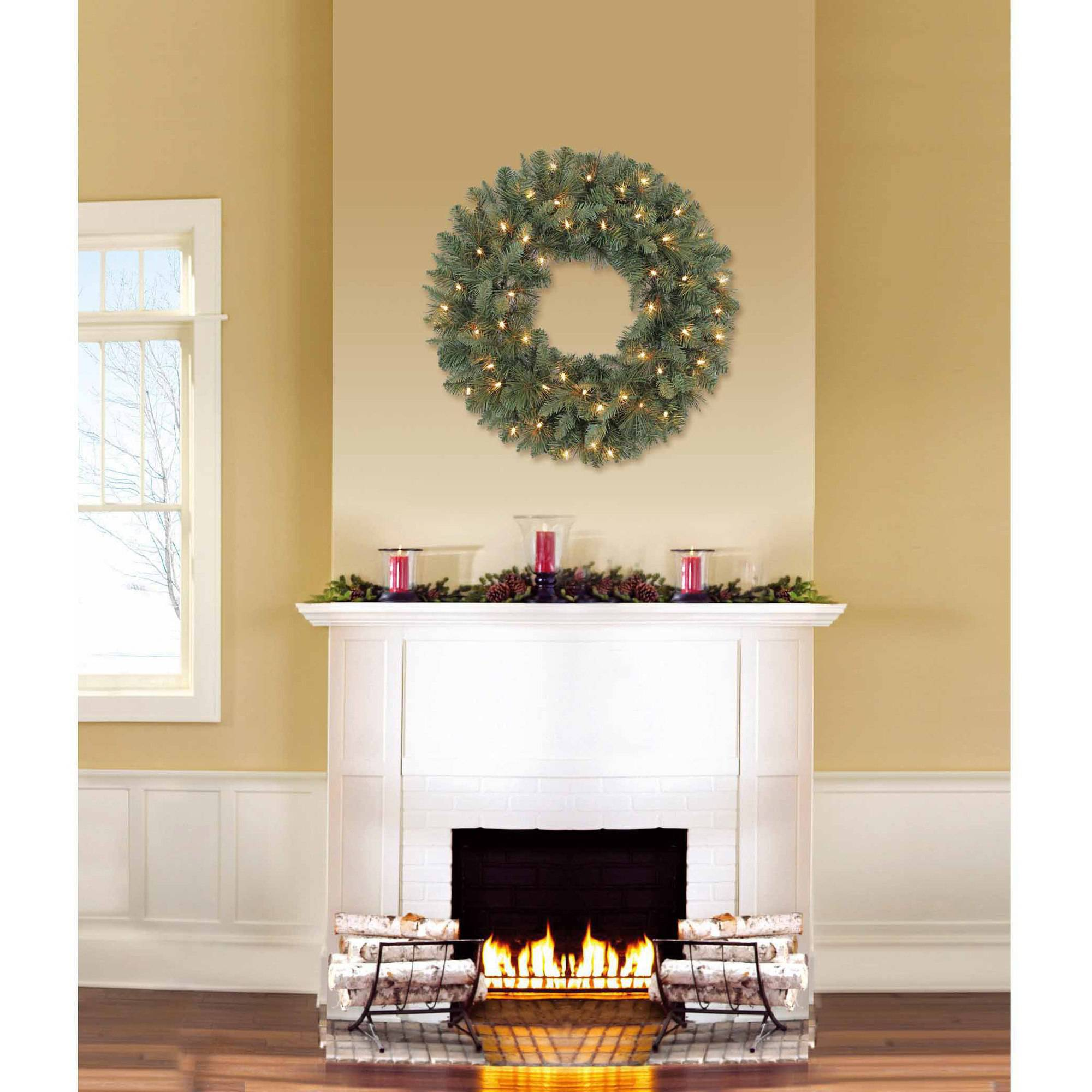 """Holiday Time Pre-Lit 24"""" Scottsdale Pine Artificial Christmas Wreath, Clear Lights"""