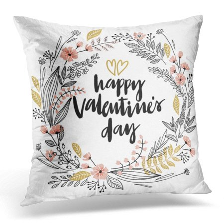 BSDHOME Handdrawn Valentine`S Day Lettering Design Hand Drawn Floral Throw Pillow Case Pillow Cover Sofa Home Decor 16x16 Inches - image 1 of 1