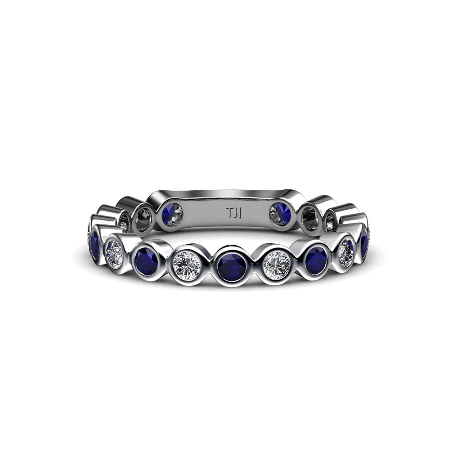 Blue Sapphire and Diamond 2.3mm Bezel Set Eternity Band 0.79 Carat tw in 14K White Gold.size 8.0 by TriJewels