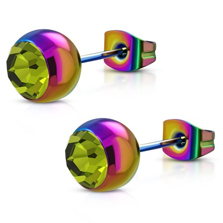 8mm Rainbow Anodized Stainless Steel Bezel Set Bead Ball Stud Earrings with Topaz CZ pair