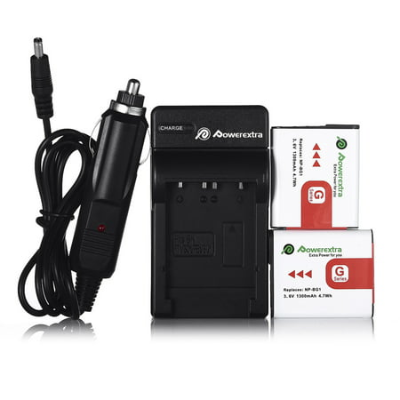 Powerextra 2-Pack 3.6v 1300mAh Li-ion Battery + Battery Charger for Sony NP-BG1 Type G and Sony W Series Digital Camera ()