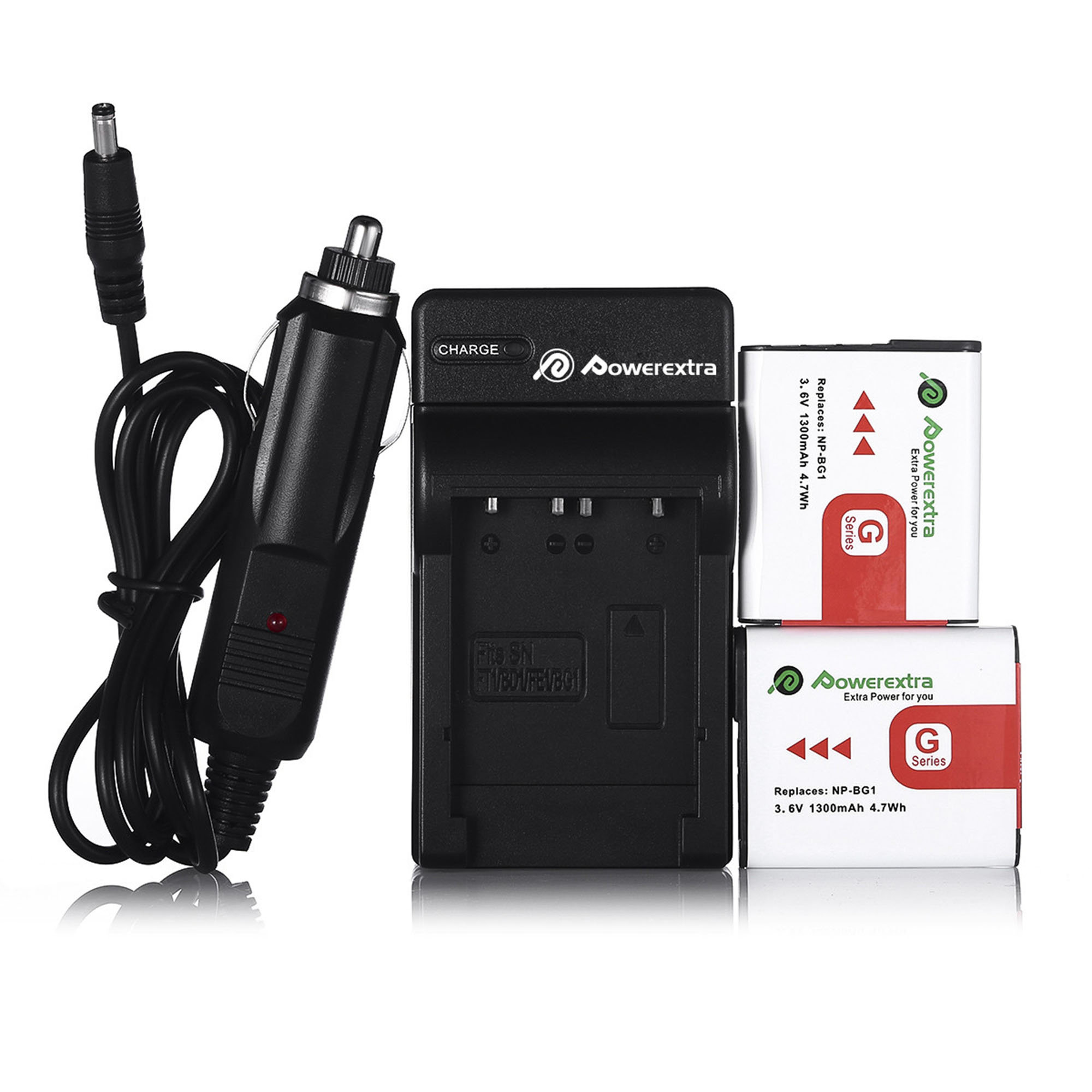 Powerextra 2-Pack 3.6v 1300mAh Replacement Battery + Battery Charger for Sony NP-BG1 Type G and Sony W Series Digital Camera