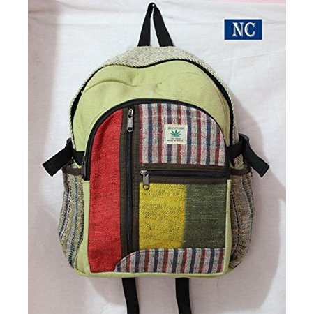 Rasta Hemp - Nepali Handmade Hemp Rasta Backpack - 100 Pure Hemp THC FREE Backpack Handmade Nepal with Laptop Sleeve - Fashion Cute Travel
