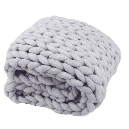 Handmade Chunky Knitted Thick Wool Yarn Blanket Bulky Warm Sofa Bed Throw ()
