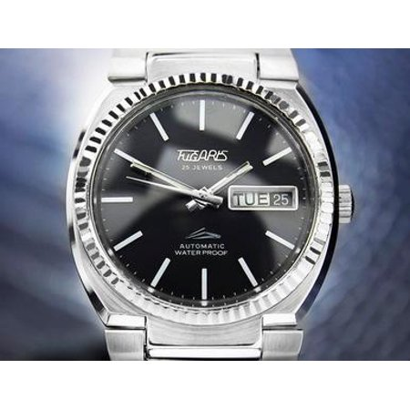 Tugaris 25 Jewels Automatic day date Black Dial Stainless steel Quickset DN106