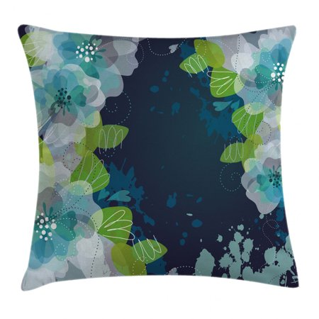 Navy Throw Pillow Cushion Cover, Sketchy Abstract Blossoms Flowers with Leaves on Grunge Backdrop, Decorative Square Accent Pillow Case, 18 X 18 Inches, Navy Blue Light Green and White, by Ambesonne