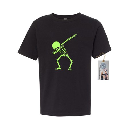 Dabbin Skeleton Halloween Shirt Sarcastic Youth Short Sleeve T-Shirt - Halloween Shirt With Baby Skeleton