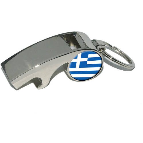 Greece Greek Flag, Plated Metal Whistle Bottle Opener Keychain Key Ring by Graphics and More