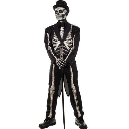 Bone Chillin Mens Voodoo Witch Doctor Skeleton Suit Halloween Costume](Halloween Voodoo Costumes)