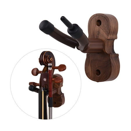 Fork Fiddle (Wall Mount Violin Fiddle Viola Hanger Hook Keeper with Bow Holder Rubber Cushion Wood Base)