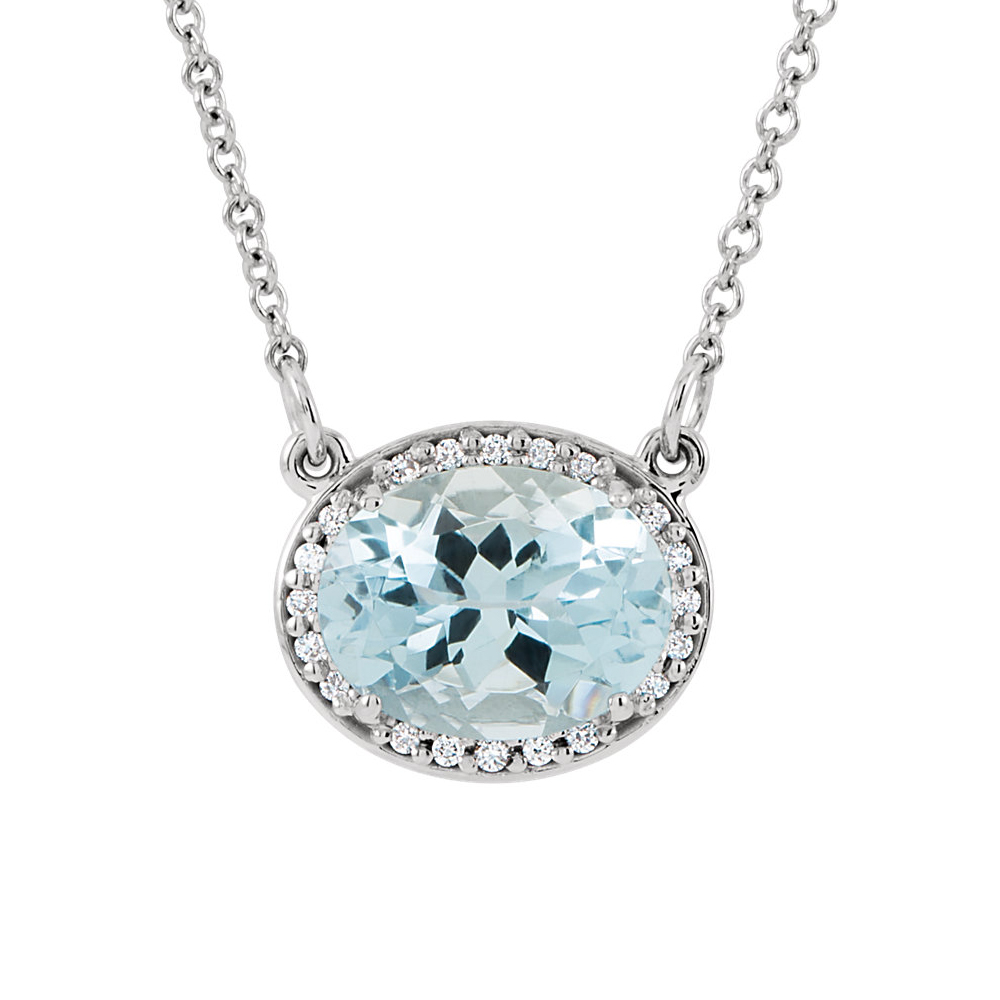 Oval Aquamarine & .05 Ctw Diamond Necklace in 14k White Gold, 16 Inch by Black Bow Jewelry Company