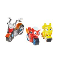 Ricky Zoom: Maxwell & the Bike Buddies 3 Pack  3 & 4 inch Action Figures  Free-Wheeling, Free Standing Toy Bikes for Preschool Play