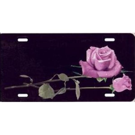 Pink Roses on Black Airbrush License Plate Free Names on this Air