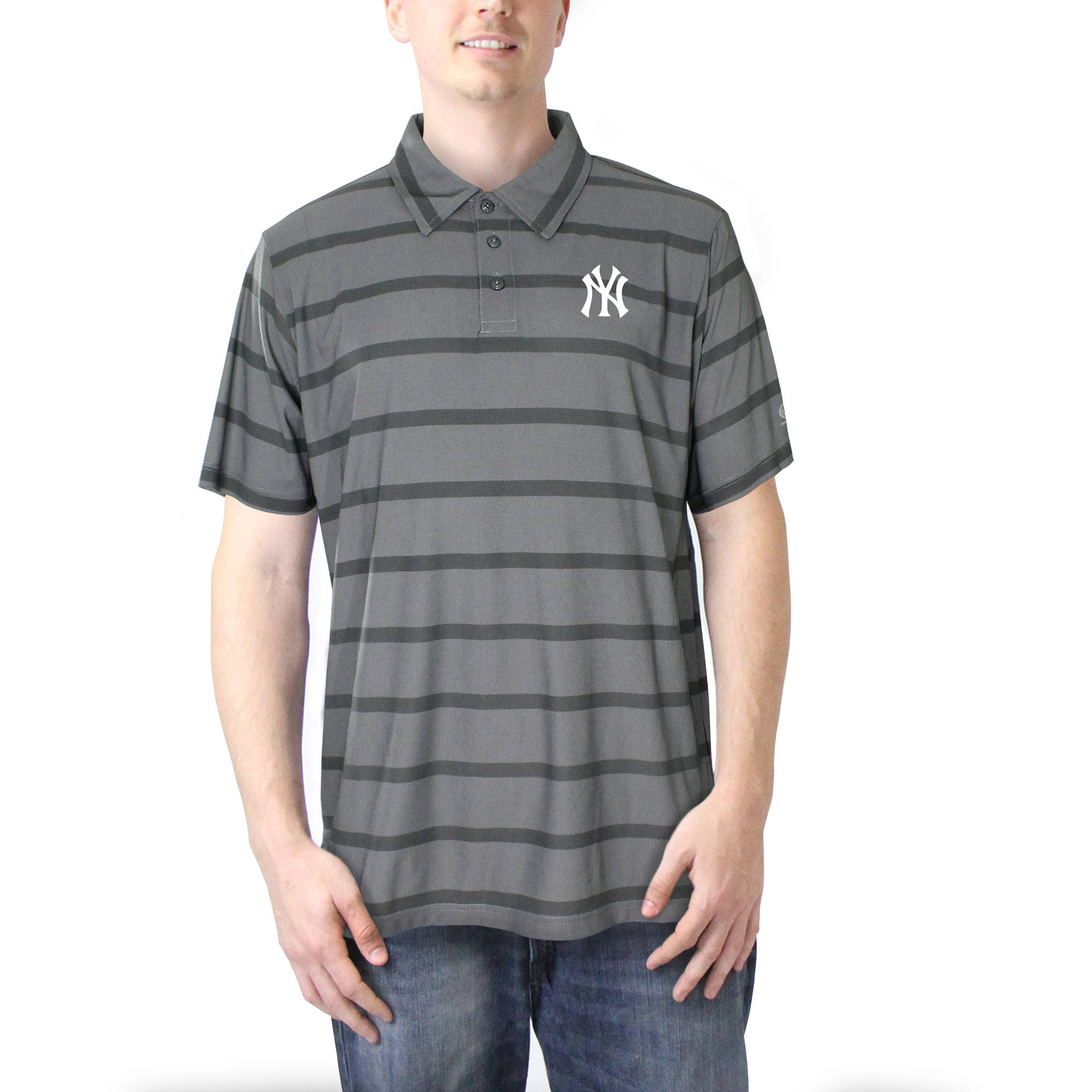 New York Yankees Men's Charcoal Yarn Dye Stripe Polo