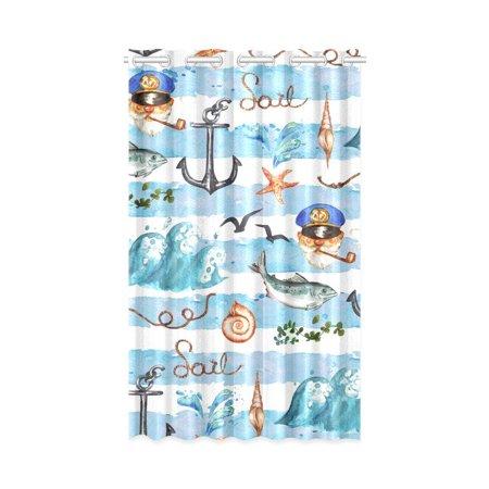Nautical Window Curtains - MKHERT Colorful Nautical Pattern Window Curtain Living Room,Bedroom Window Drapes 52x84 inch