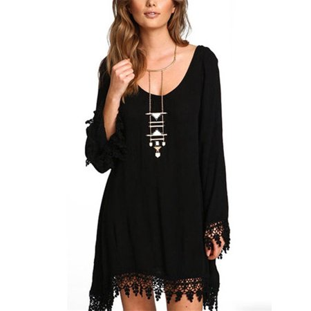Womens Loose Casual Tassel Long Sleeve Hippie Mini - Womens Hippie Dresses