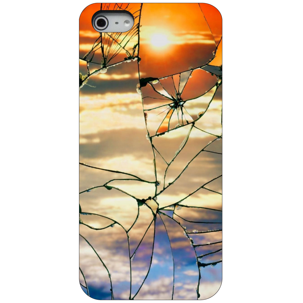 CUSTOM Black Hard Plastic Snap-On Case for Apple iPhone 5 / 5S / SE - Shattered Glass Sunrise