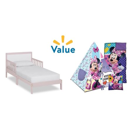 Dream on Me Brookside Toddler Bed, Pink & White + Minnie Mouse Slumber Set Value Bundle