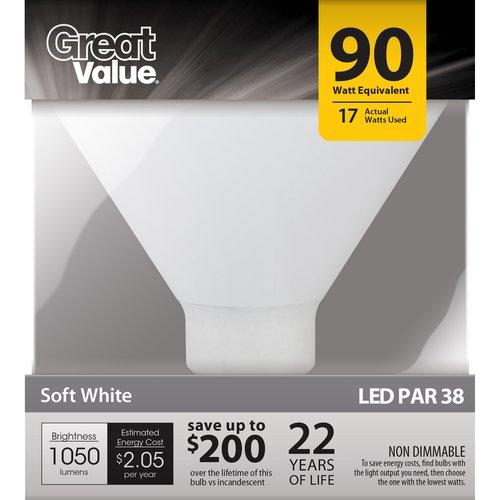 Great Value LED Light Bulb 17W (90W Equivalent) P38 (E26), Soft White