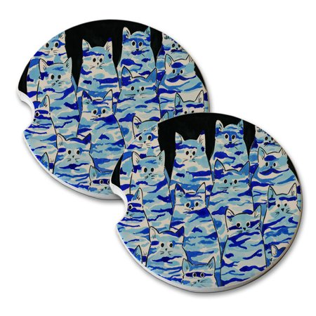 KuzmarK Sandstone Car Drink Coaster (set of 2) - Blue Camo Camouflage Kitties Abstract Cat Art by Denise Every ()