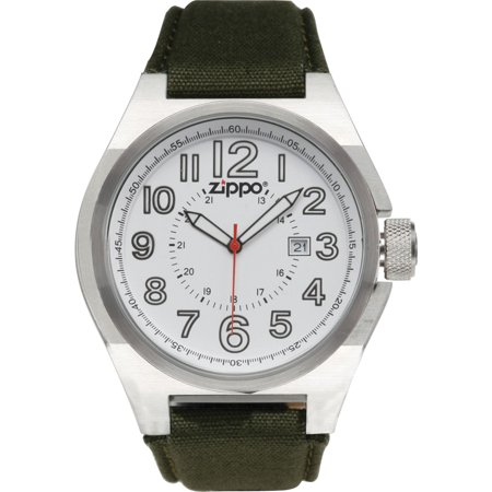 - Zippo Sports Watch with White Dial and Olive Drab Fabric Strap