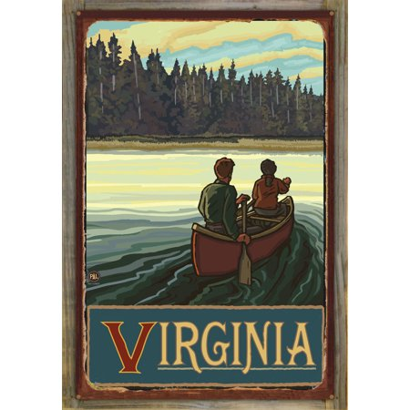 "Virginia Lake Canoers Forest Rustic Metal Print on Reclaimed Barn Wood by Paul A. Lanquist (24"" x 36"")"