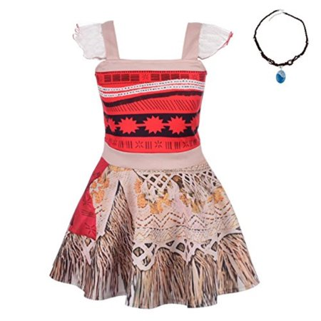 Lito Angels Girls Dresses Moana Costume Adventure Outfit Halloween Fancy Party Dress with Necklace Size 2T 3T