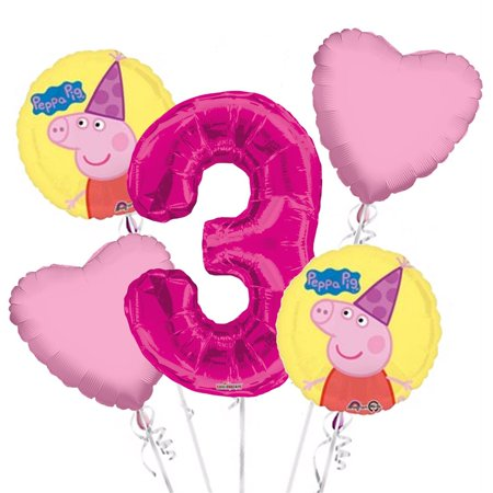 Peppa Pig Birthday Banner (Peppa Pig Balloon Bouquet 3rd Birthday 5 pcs - Party Supplies Pink, 1 Giant Number 3 Balloon, 34in By Viva)