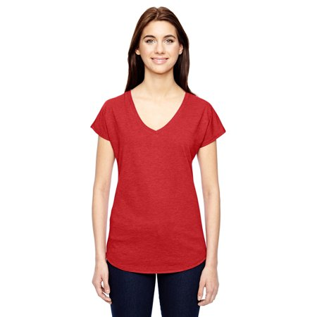 Anvil 6750VL Ladies Triblend V-Neck T-Shirt - Heather Red - X-Large