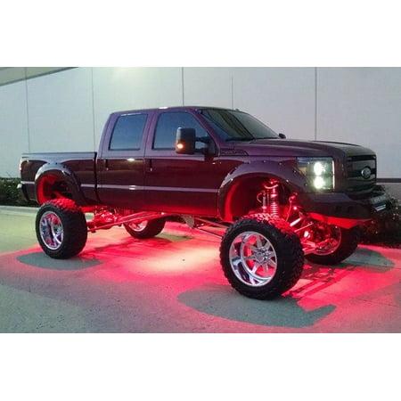 Flashtech 4 Pod LED Rock Lights Kit with Controller Underglow LED Neon Light Kit for Jeep Off Road Trucks ATV SUV Boat - Green
