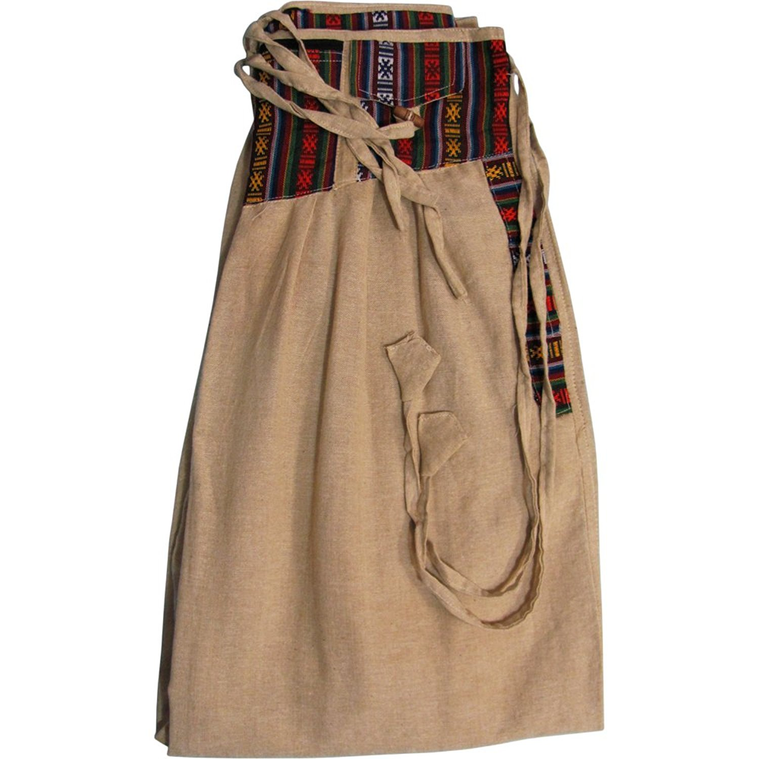 Men's 5-pocket Fannie-Pack Waist Bohemian Ethnic Cotton Harem Gypsy Pants - Olive Green