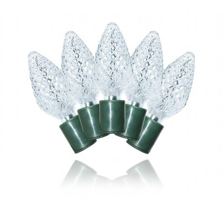 Winterland S-25C9PW-5G C9 Pure White LED Light Set With In-Line Rectifer On Green