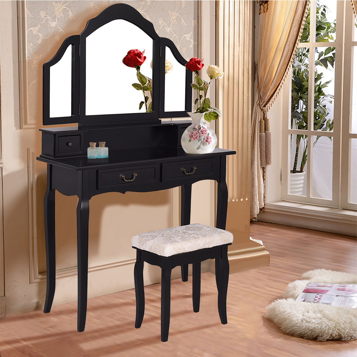 Costway Black Tri Folding Mirror Vanity Makeup Table Set Bedroom W Stool & 4 Drawers Black by Costway