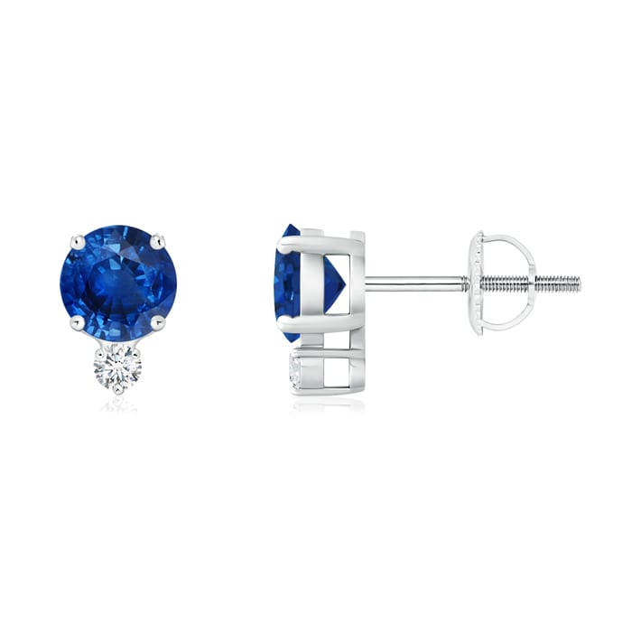 Angara Basket-Set Blue Sapphire Stud Earrings in 14k White Gold 1tYn4Ralw