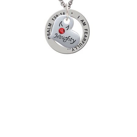 Silvertone Naughty or Nice Heart with Crystals Psalm 139:14 Affirmation Ring (Nice Crystal)