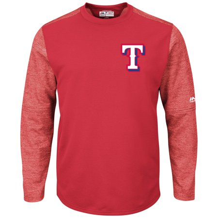 Texas Rangers Majestic Authentic Collection On-Field Tech Fleece Therma Base Pullover Sweatshirt - Red