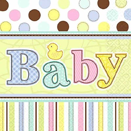 Tiny Bundle Polka Dot Stripes Rubber Duck Baby Shower Party Beverage Napkins Polka Dot Duck