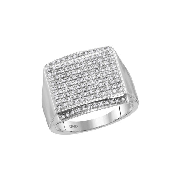 FB Jewels 10kt White Gold Mens Round Diamond Rectangle Cluster Ring 3/8 Cttw