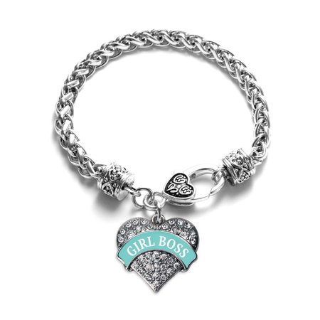 Teal Script Girl Boss Pave Heart Charm Bracelet