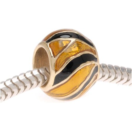 22K Gold Plated Enamel Tiger Stripes Animal Print - European Style Large Hole Bead (1)
