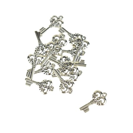 Key Charms (Small Skeleton Key Charms, Silver, 1-Inch,)