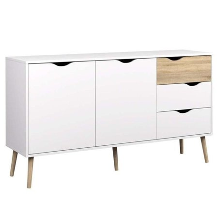 Pemberly Row Sideboard with 2 Doors and 3 Drawers in White Oak