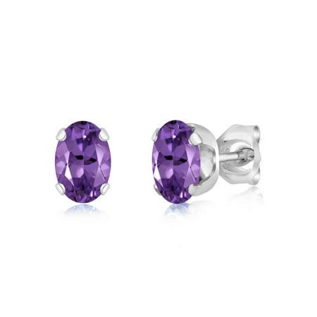 0.90 Ct 6x4mm Oval Shape Purple Amethyst Sterling Silver Stud Earrings - image 1 de 1