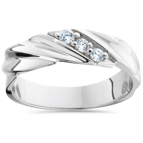 Mens Diamond Wedding Ring 3-Stone 14K White Gold High Polished Band