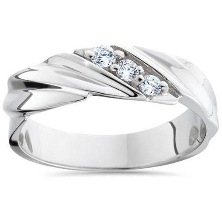 mens diamond wedding ring 3 stone 14k white gold high polished band - Mens Diamond Wedding Rings White Gold