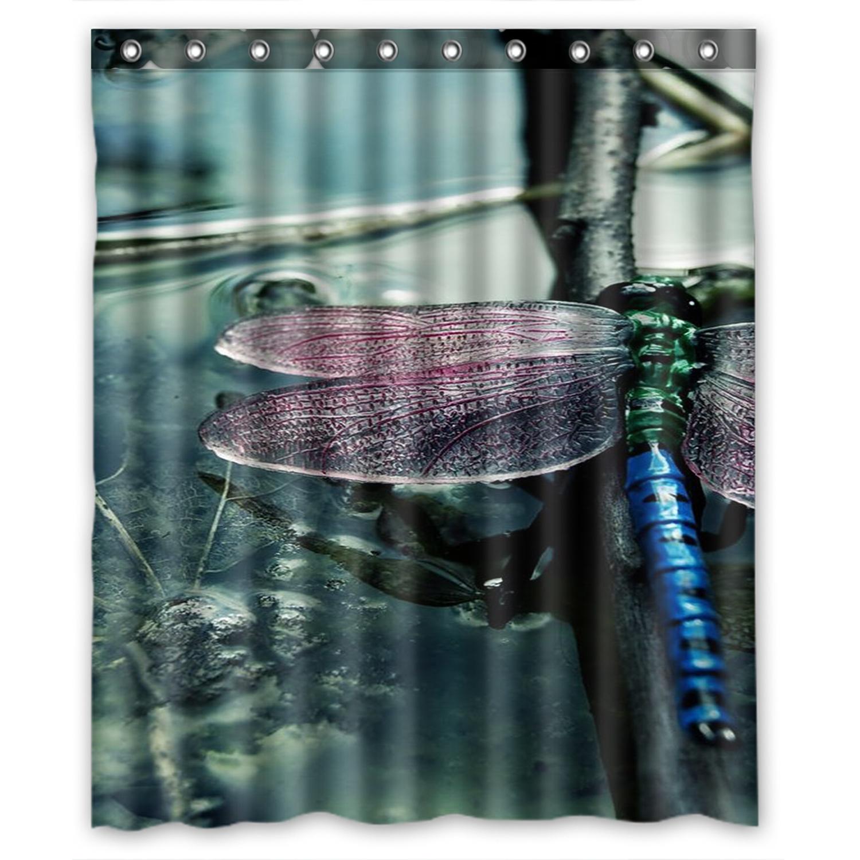 Dragonfly In The Rain Shower Curtain Bathroom Decor Fabric /& 12hooks 71x71inches