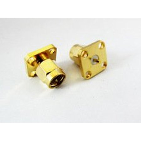 - SMA male plug 4-hole panel mount coax connector with solder post goldplated price Ships Quickly From USA